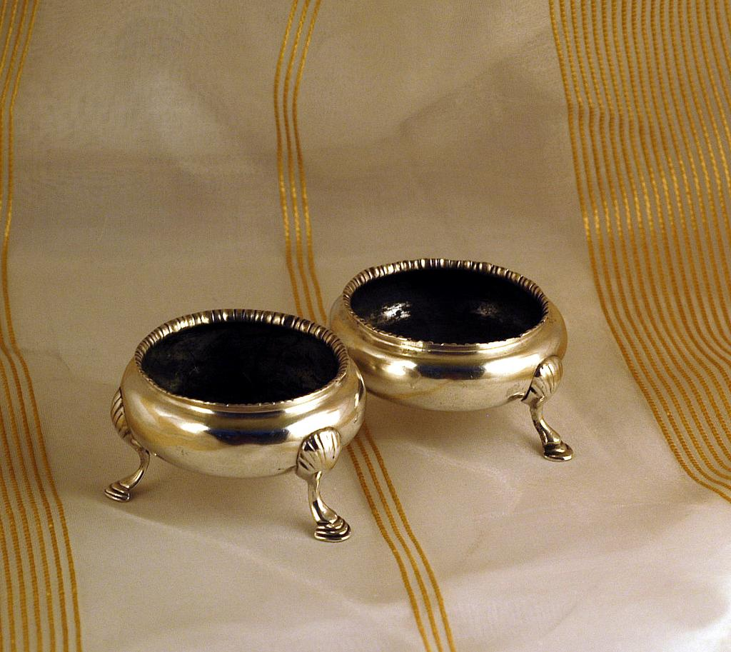 Rare! Antique English Sterling Silver Salts London 1763