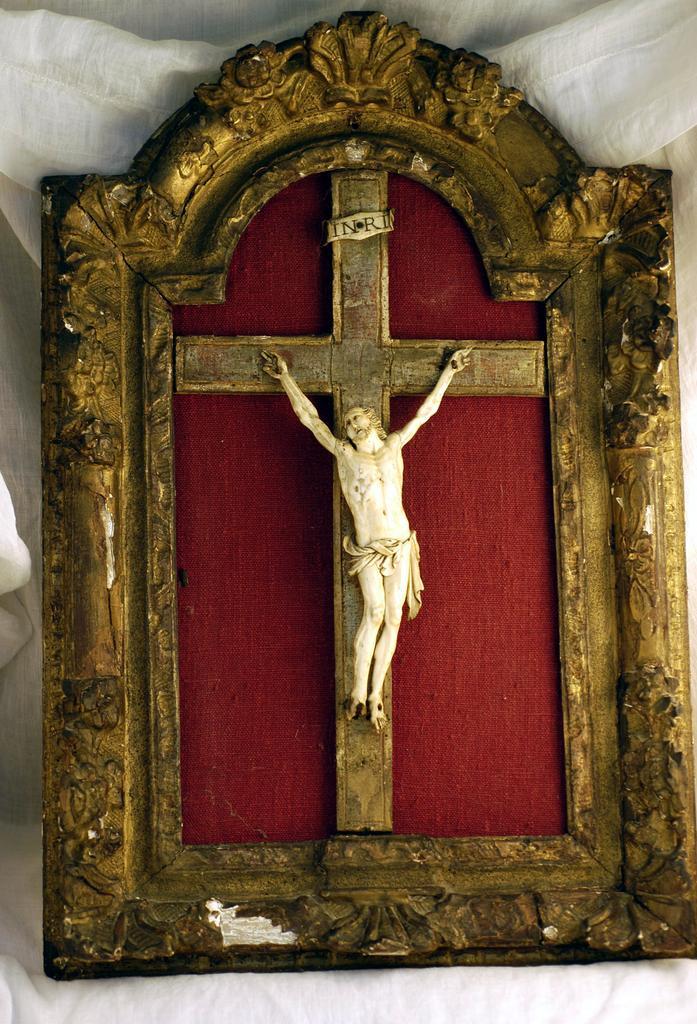 Rare Antique Jansenist Ivory Crucifix Original Gilt Gesso
