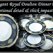 12 Royal Doulton Service Plates Ornate Impasto Gold Decoration 1950s