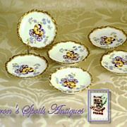 Set 6 Antique Hand Painted Butter Pats: Elite Limoges: Pansies!