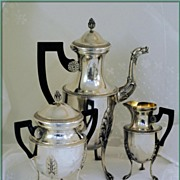 COIGNET: HUGE Antique French Sterling Silver Coffee Pot Cream Sugar