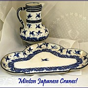 Antique Victorian Minton Porcelain Pitcher & Tray: Japanese Cranes