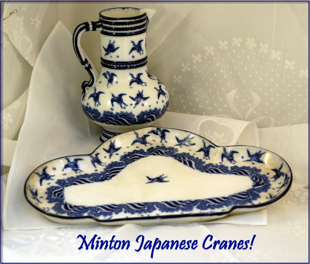 Antique Victorian Minton Porcelain Pitcher & Tray: Japanese Cranes