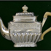 Antique Russian Sterling Silver Solitaire Teapot: Cherubs! Moscow Assay 1852-1862