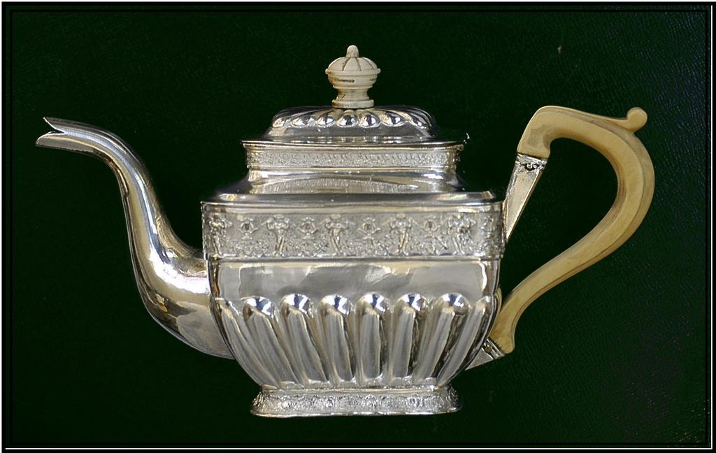 Antique Russian Sterling Silver Solitaire Teapot: Cherubs! 1834 SALE!