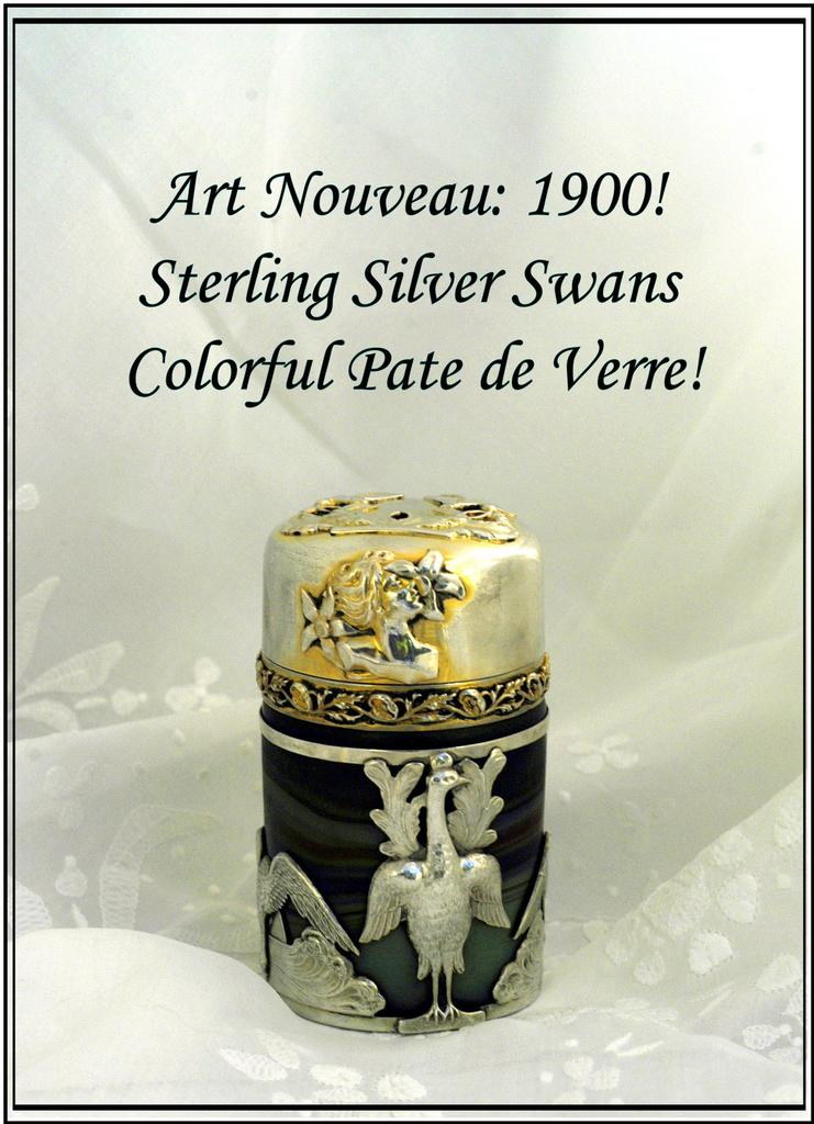 Fab! Antique French Sterling Silver & Pate de Verre Salts Bottle