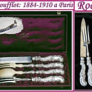 Antique French Rococo Sterling Silver Serving Set: Carving & Salad