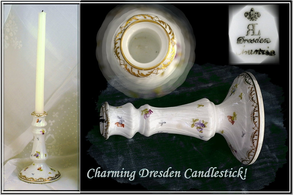 Fine Vintage Dresden candlestick Hand Painted Gilt Foliate