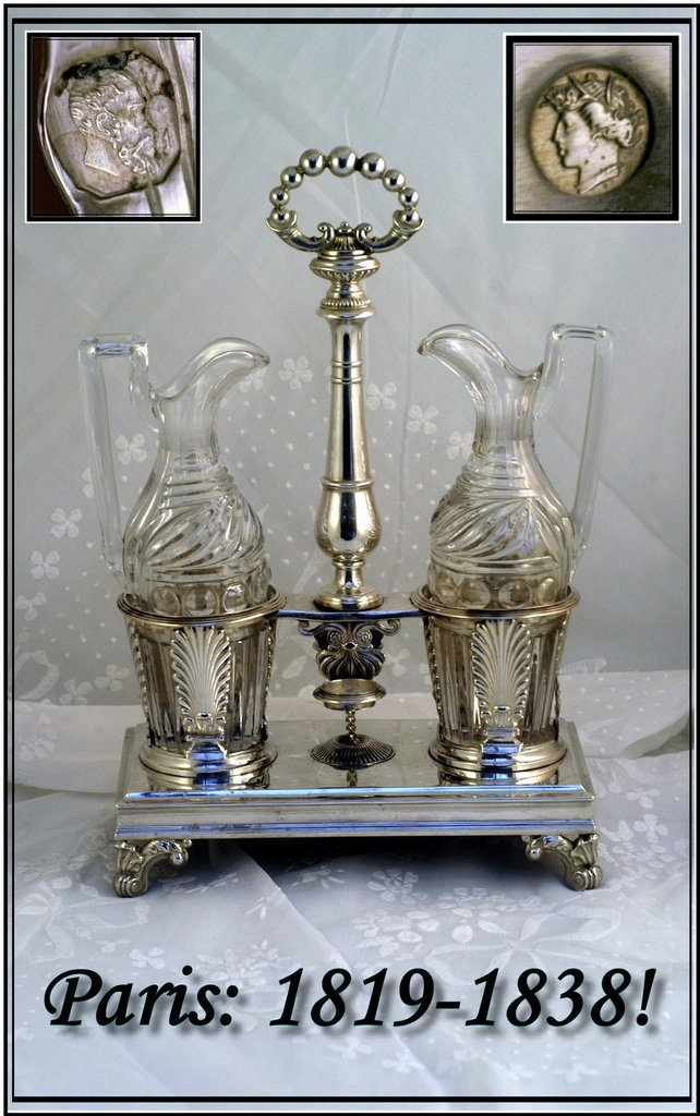 VR Antique French Sterling Silver Cruet Set: 1819-1838 Marks