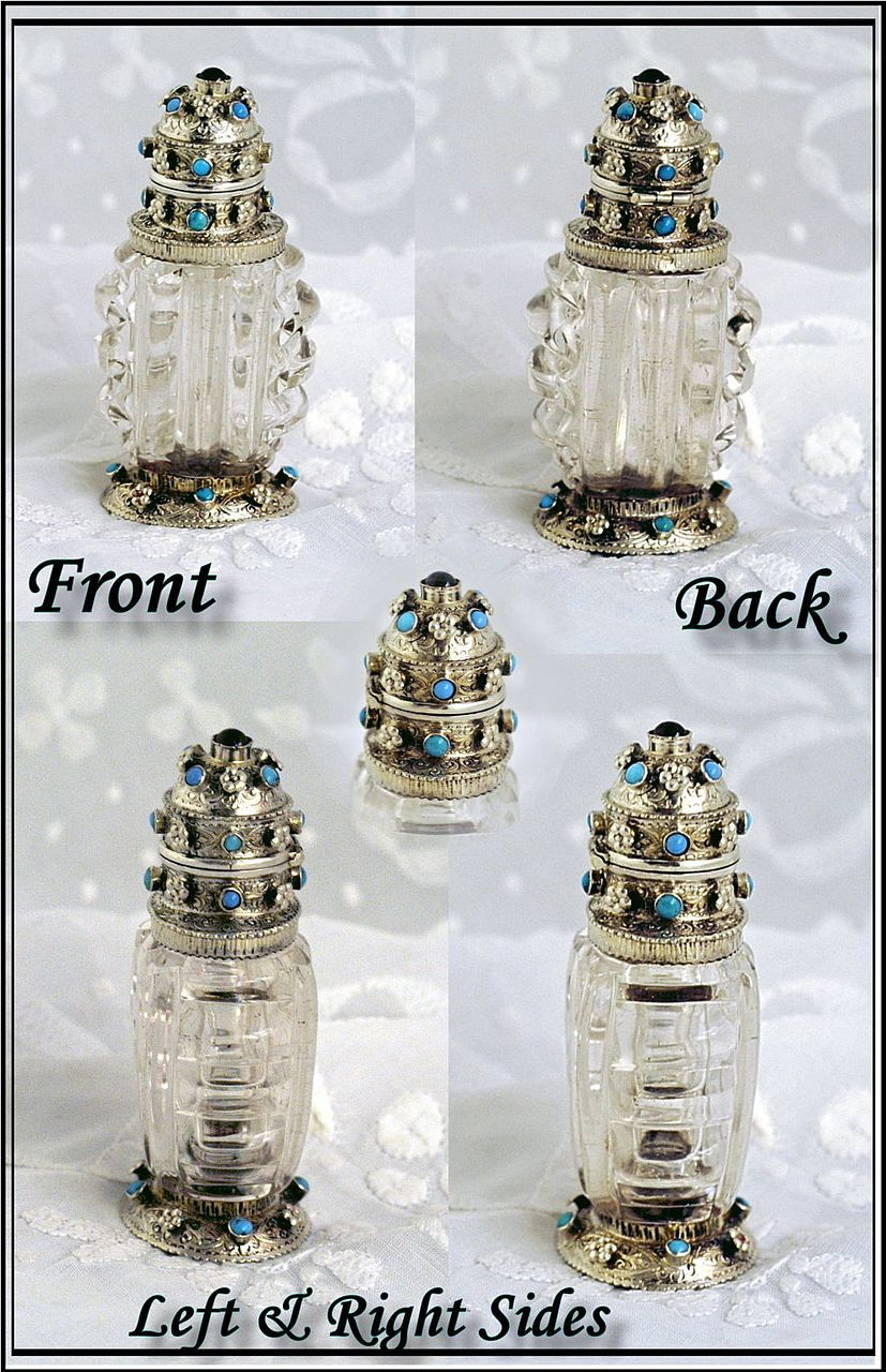 Antique Austro-Hungary Rock Crystal & Silver Scent 1870