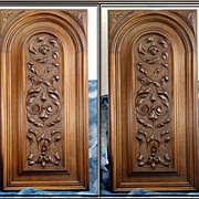 Antique French Hand Carved Walnut Architectural Panels Pair