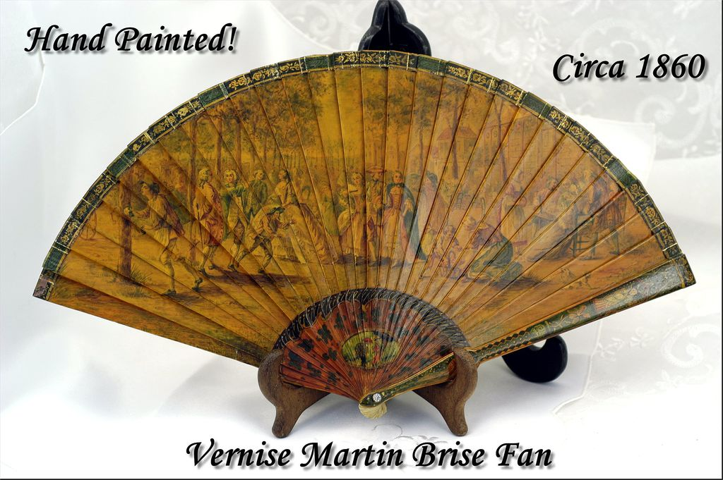 VR Antique Vernis Martin Brise Folding Fan HP Figural Scenes