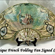 Antique French Folding Fan HP Mother of Pearl Sticks Signed Leger