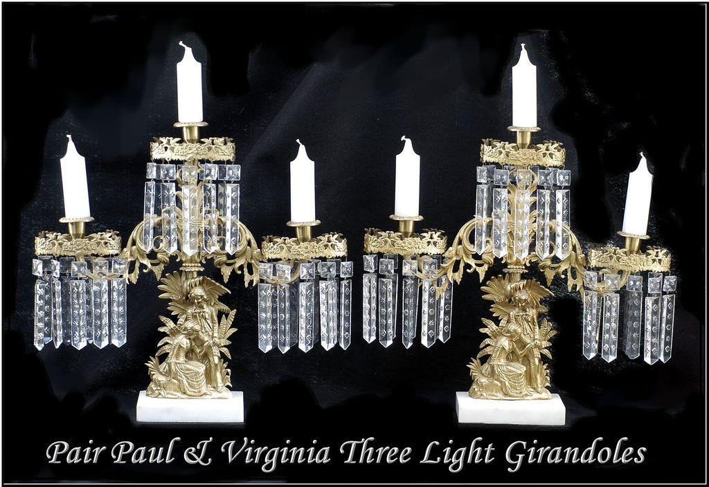 Pair Paul & Virgina Three Light Girandoles Mantel Garnitures