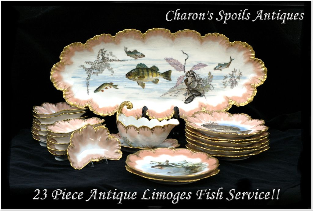 Antique Limoges Fish Service: 23 Pieces! A. Lanternier