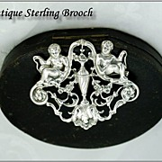 Neo-Classical Sterling Silver Brooch: Putto
