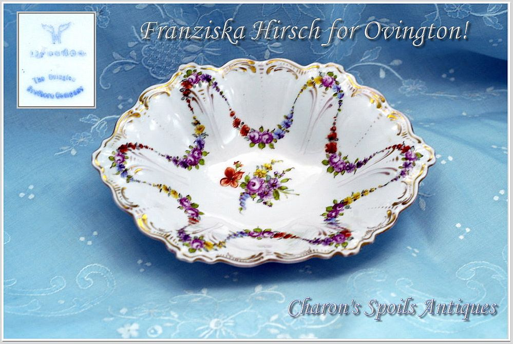 Charming Hirsch Serving Bowl HP decorative Floral Swags