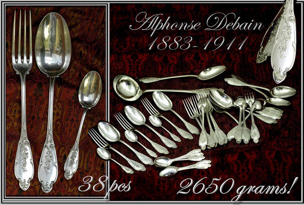 Antique Louis XVI French Sterling Flatware Set: 36 Pcs, 2650 Grs!