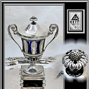 Antique French Sterling & Cobalt Confiturier, Sugar: Garreau