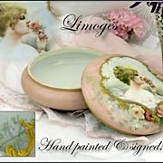 Antique Limoges Portrait Dresser Jar, Jewelry Casket: HP Signed