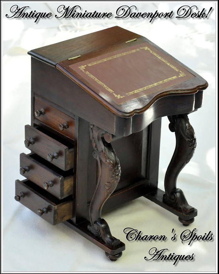 Antique Miniature Davenport or Captain's Desk - Antique Miniature Davenport Or Captain's Desk From