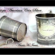 Antique American Coin Silver Cup Tifts & Whiting 1840-1853