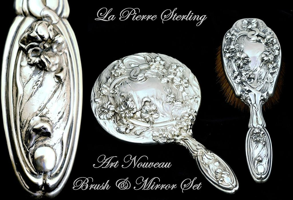 Antique Sterling Silver 2 Pc Vanity Dresser Set La Pierre Art Nouveau