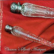March Sale! Antique Birmingham Sterling Cut Enamelled Crystal Perfume: 1893
