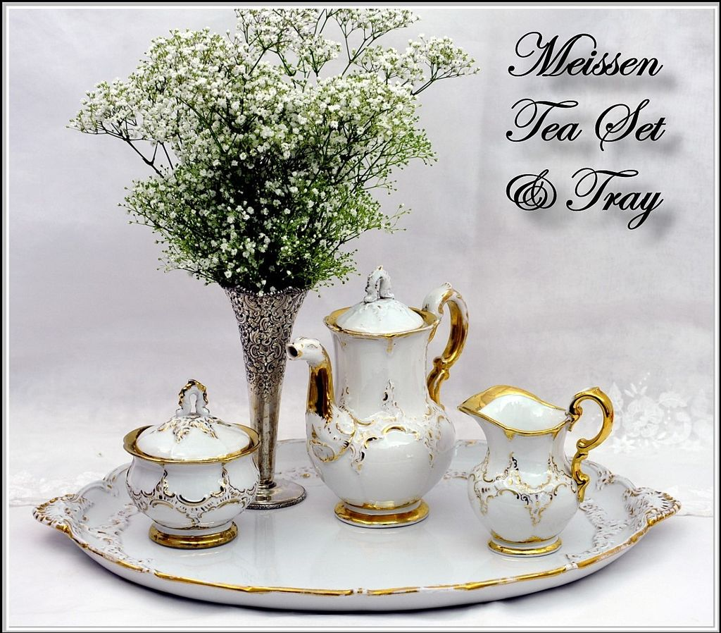 Antique 19th C Meissen Assembled Coffee Tea Set Tray 4 PC