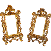 Pair of very decorative   19th century gilded metal frames