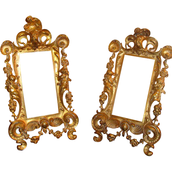Antique pair of gilt metal frames, 19th century