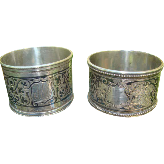 Antique  Russian silver Napkin rings with rich Niello decoration