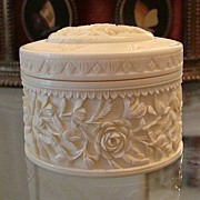 Antique Ivory box with richest and finest decoration of hand carved roses and leaves