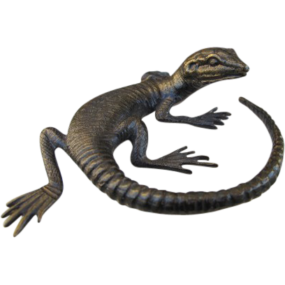 Antique Vienna Bronze of a lizard, signed WW(Wiener Werkstätten, dated at about 1900