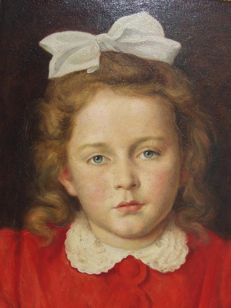 Little girl with white bow and red dress by Franz Krischke 1865-1960