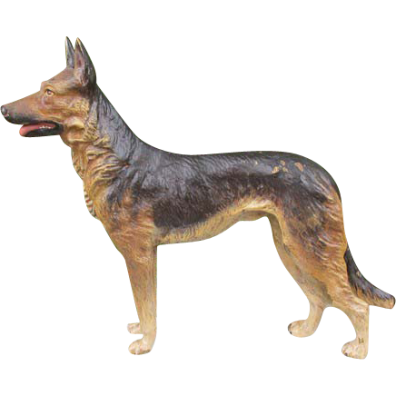 Antique Vienna Bronze figure of a German shepherd dog, signed by Bergmann