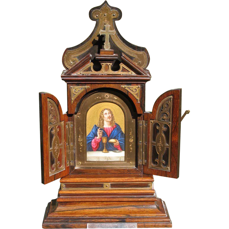 19th century Tryptich with a painting depicting Jesus Christ