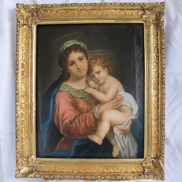 19th century painting,oil on canvas depicting the Holy Virgin holding the little Jesus