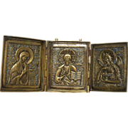 Authentic antique 19th century Russian three folded brass and enamel icon