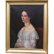 Portrait of a young lady signed by Albert Gräfle and dated 1838