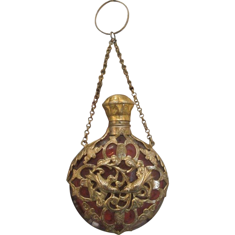 Antique Chatelaine scent bottle with gilded brass casement, 19th century