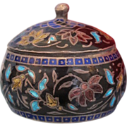 Cloisonne enameled fine silver box adorned with flowers, late 19th century