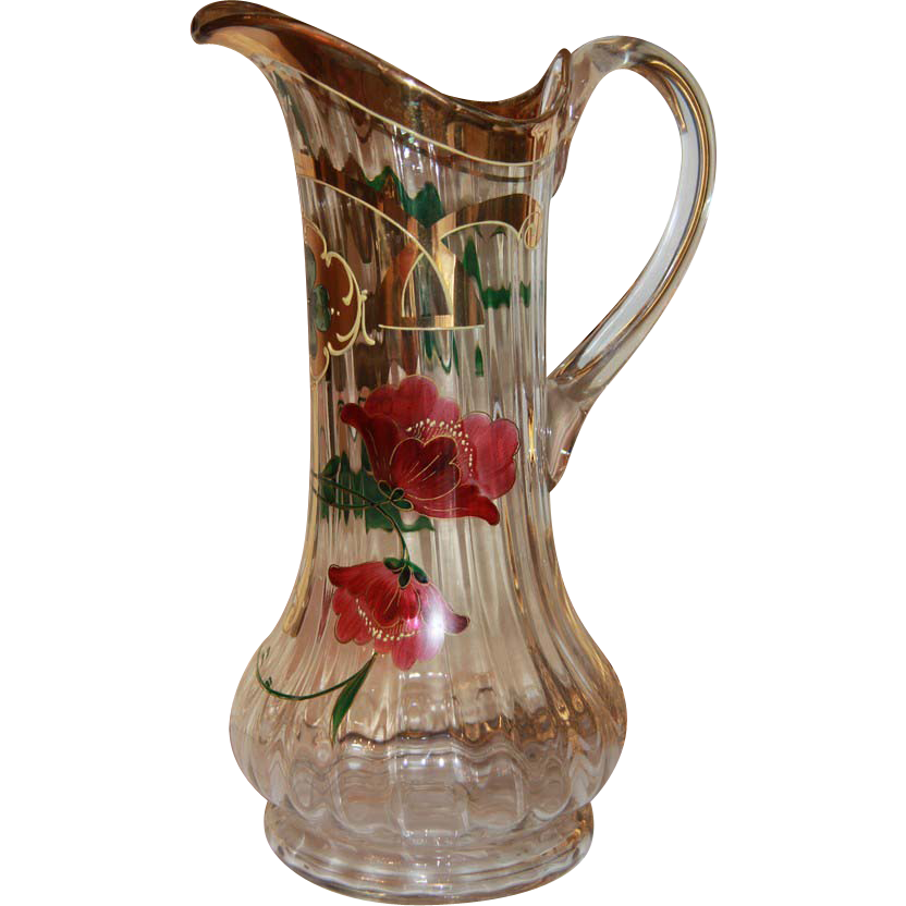 Art Nouveau hand painted glass water jug,turn of the 20th century