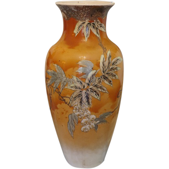Art Nouveau hand painted pottery vase  dated at about 1910