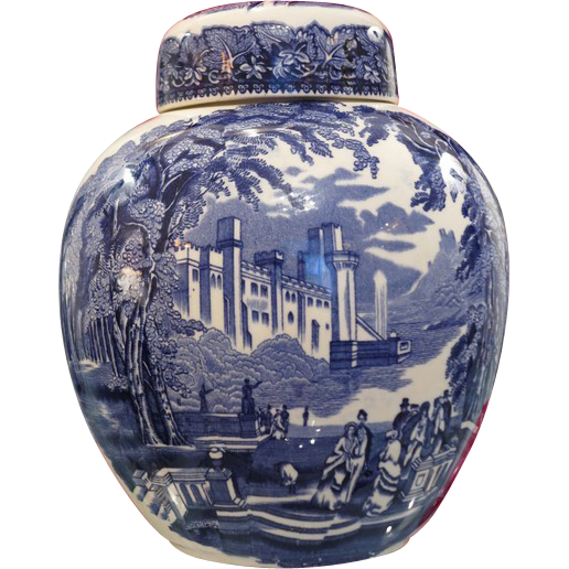 Mason's Vista Blue & White vase with cover, 20th century