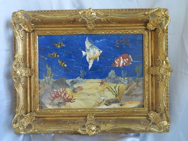 Magnificent Pietra Dura placque set in an antique wooden gilt wood frame