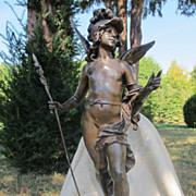 """Art Nouveau metal and bronze sculpture""""Chanson de printemps"""" by Auguste Moreau (France, 1834-1917)"""