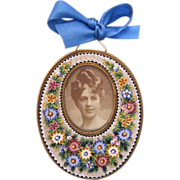 Antique Micro Mosaic flower frame ,19th century