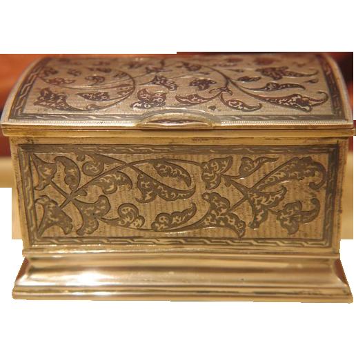 Antique silver and Niello cigarette box ,ca 1890