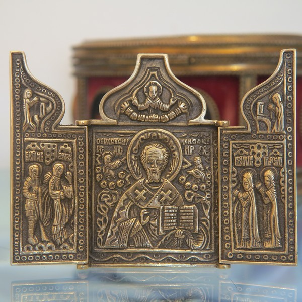 Russian traveling Icon depicting St.Nicholas , turn of  20th century